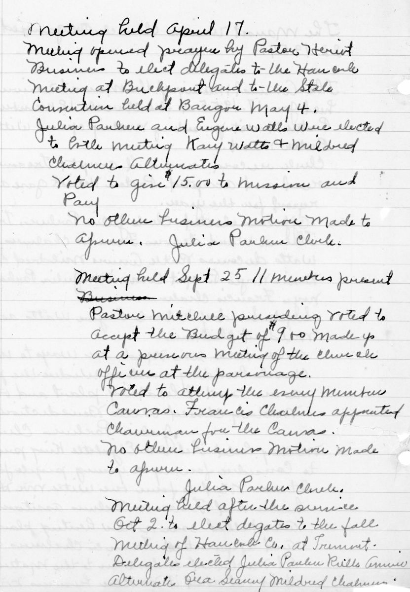 """Manset Union Church """"Organized Sept. 22, 1954."""" Report of Annual and other meetings, Jan. 17, 1955 through Jan. 14, 1968."""